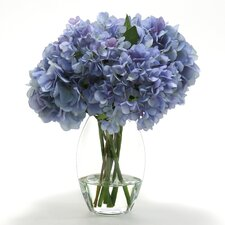 <strong>Distinctive Designs</strong> Silk Hydrangeas in Glass Vase