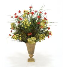 Fall Artificial Mix of Daisies, Wax Flowers, Helleboure and Grass in Ribbed Metal Urn