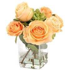 Waterlook Silk Roses and Hydrangeas in Vase