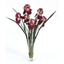 Silk Iris in Tall Footed Flared Vase
