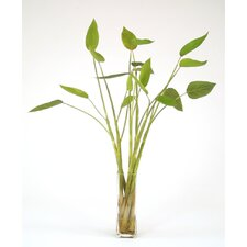 Silk Tropical Leaf Floor Plant in Decorative Vase