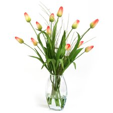 Silk Tulip Buds in Tapered Elliptical Vase