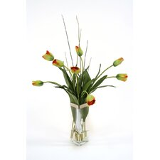 Silk Tulips in Triangle Vase