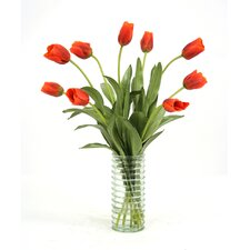 Silk Tulips in Ribbed Vase