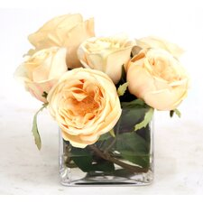 Silk Roses in Glass Vase (Set of 2)