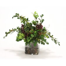 Waterlook Silk Mixed Greenery with Berries in Vase
