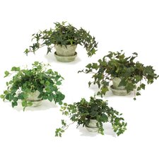 Silk Ivy and Vine Arrangements Floor Plant in Pot (Set of 4)
