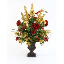 Large Silk Mix of Florals in Classic Urn