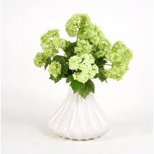 Silk Snowballs in Small Fluted Vase