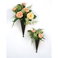 Silk Floral Nosegays in Metal Cones