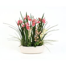 <strong>Distinctive Designs</strong> Garden Style Spring Silk Floral Mix in Oval Planter