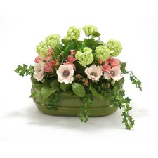 Silk Garden Stack in Oval Lion Head Planter