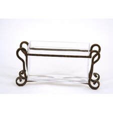 Clear Glass Pillow Vase in Wrought Iron Stand