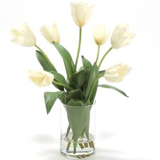Silk Tulips in Cylinder