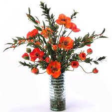 <strong>Distinctive Designs</strong> Silk Poppies with Euphorbia in Ribbed Vase