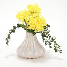 Silk Mum Spray in Fluted Vase