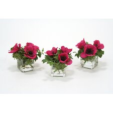 Waterlook Silk Anemones and Ivy in Vase (Set of 3)