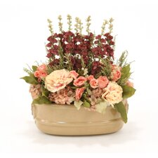 Silk Peonies, Hydrangeas and Delphiniums in Milu Oval Planter