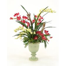 Silk Orchid Garden in Crackle Sleek Urn