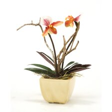Silk Lady Slipper Orchids with Twigs in Crackle Planter