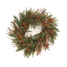 Artificial Pine Spray and Glittered Twig Wreath