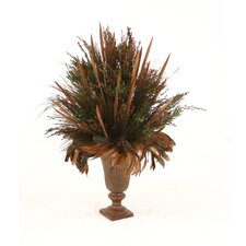 Dried Greenery Preserved Grass in Round Urn