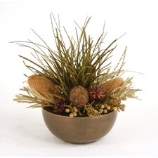 Dried Greenery Dried Grass, Cedar, Pine, and Protea Mix in Bowl