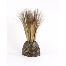 Silk Bear Grass in Woven Bamboo Decorative Vase