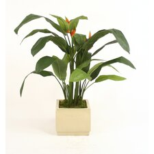 Silk Heliconia Leaf Floor Plant in Square Stoneware Planter