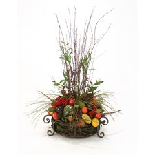 Dried Greenery Fruits, Vegetables, Pods, Feathers and Limbs in an Iron Planter