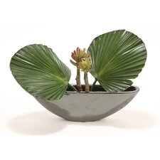Silk Fan Palms and Succulents in Metallic Oval Planter