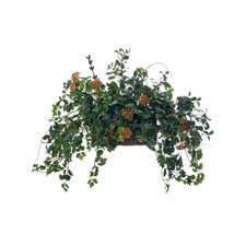 Topper with Silk Ivy, Berries and Vines in Stained Wicker Bread Basket
