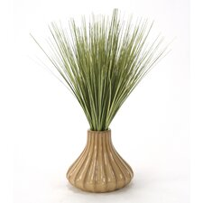 Basil Grass in Fluted Ceramic Vase