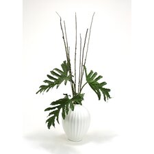 Silk Selloum Philodendron Mix Floor Plant in Decorative Vase