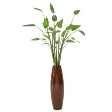 Silk Tropical Stalk in Wood Vase with Willow Detail