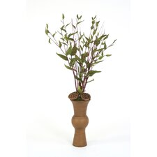 Silk Mountain Gum Branches, Natural Salt Cedar and Lotus Pods in Shanghai Vase