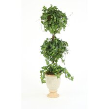 Silk Ivy Double Ball Topiary in Urn