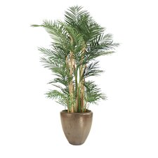 "90"" Areca Palm Tree with Natural Trunks in Large Metallic Modern Stoneware Planter"