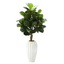 "48"" Fiddle Leaf Floor Plant in Fluted Floor Vase"