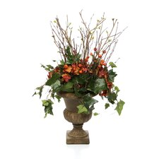 Silk Bud Branches, Draping Ivy, Berries and Hydrangeas in Classic Urn