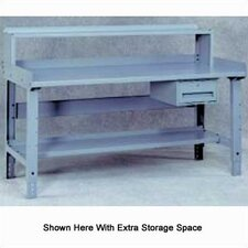 Steel Top Workbench with Shelf, Rails & Riser