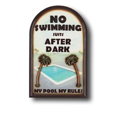 "<strong>RAM Gameroom Products</strong> ""No Swimming Suits"" Outdoor Sign"