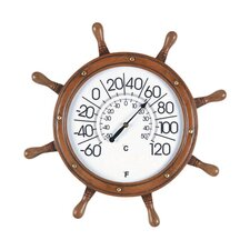 Captains Wheel Outdoor Thermometer