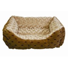 <strong>Happy Tails</strong> Polka Dot Cuddler Bolster Dog Bed with Swirl