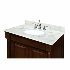 "Carrara 25"" Vanity Top with Pre Mounted Oval Ceramic Bowl"