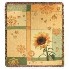 Garden Sunflower Tapestry Cotton Throw