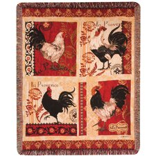 La Provence Roosters Tapestry Cotton Throw