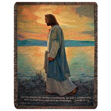 <strong>Manual Woodworkers & Weavers</strong> Walk with Me Verse Tapestry Cotton Throw