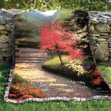<strong>Manual Woodworkers & Weavers</strong> Afternoon Light Dogwood Tapestry Cotton Throw