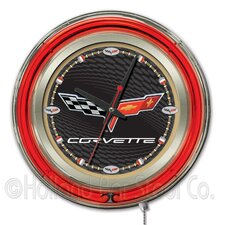 Corvette - C6 Double Neon Ring Logo Clock